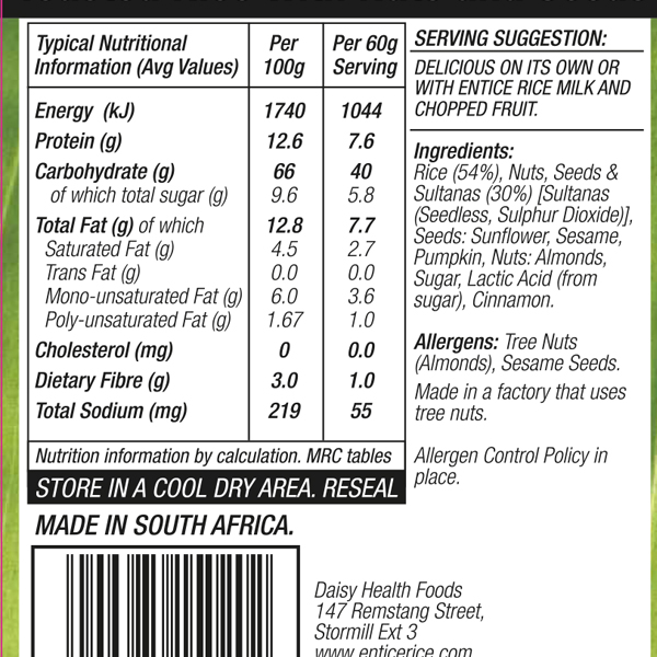 Rice Museli Labels