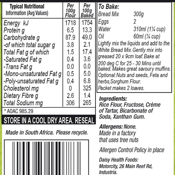 White Bread Mix Labels